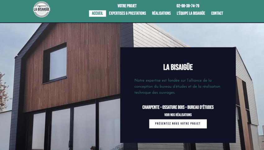 Site vitrine créé par SOWAM : Bisaigüe Charpente